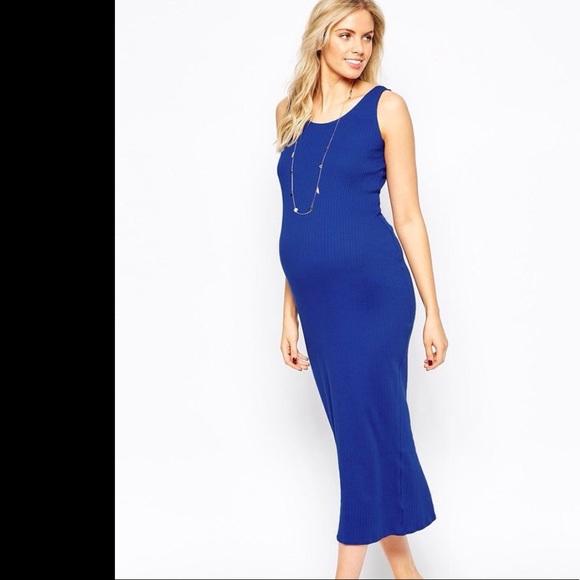 d9a7dc2525a1d ASOS Maternity Dresses | New Look Asos Ribbed Maternity Dress Cobalt ...